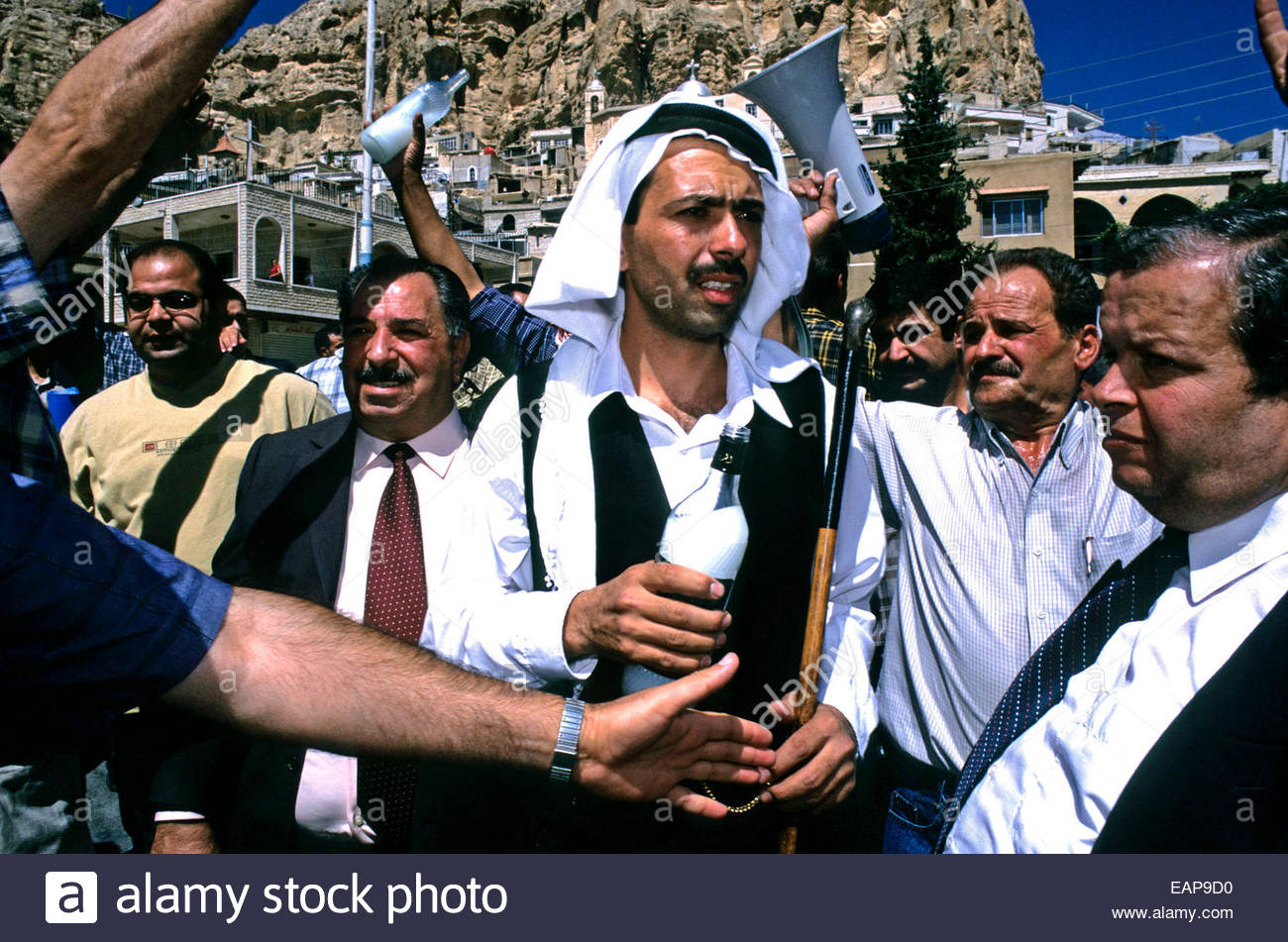 Christians during the Exaltation of the Cross Festival in the streets of Maaloula, Syria. - Stock Image