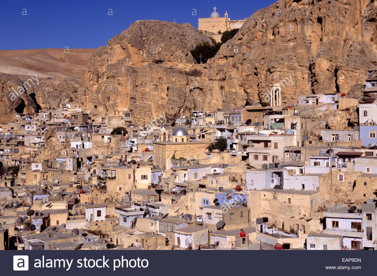 General view on Maaloula town, Syria. - Stock Image