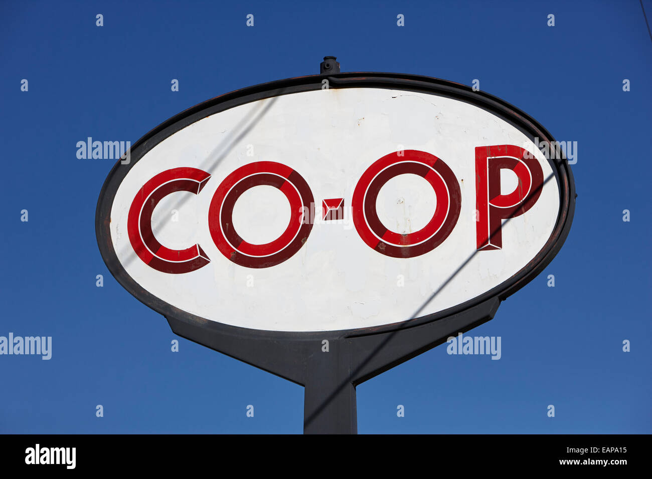 old canadian co-op roadside sign Saskatchewan Canada - Stock Image