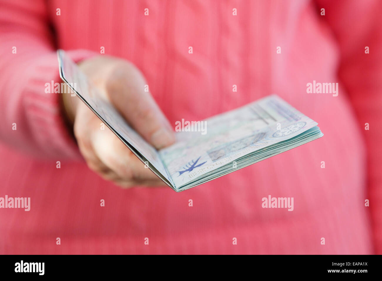 A right-handed older woman presenting an open British passport for checking at passport control when travelling - Stock Image