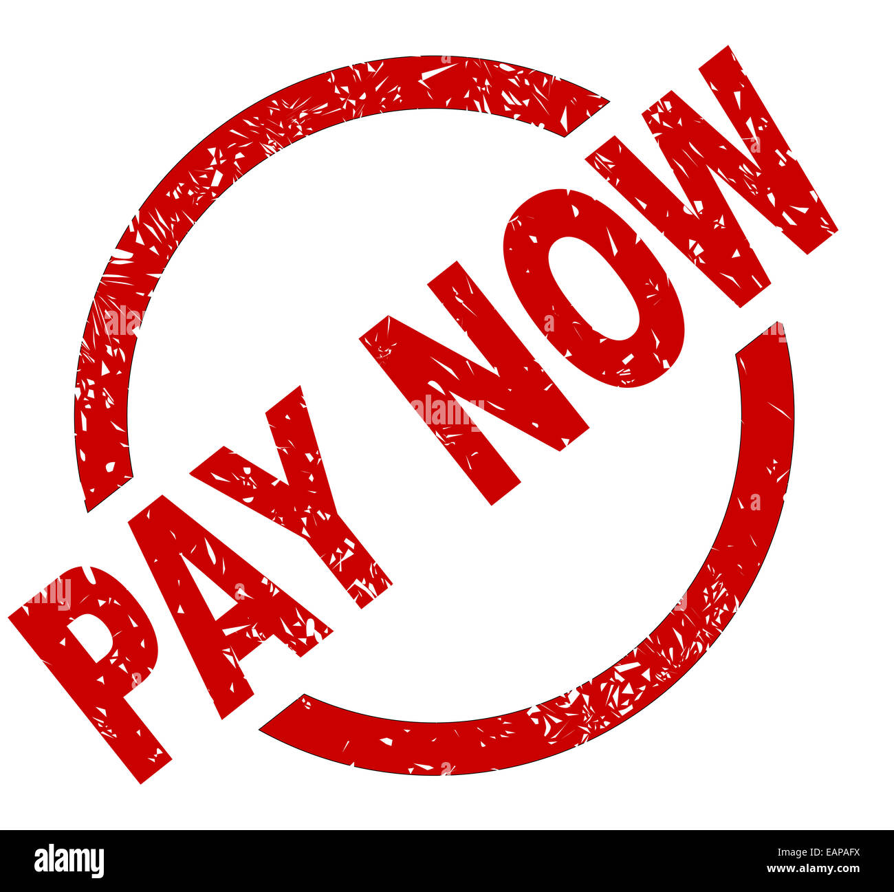 An pay now red ink stamp on a white background - Stock Image
