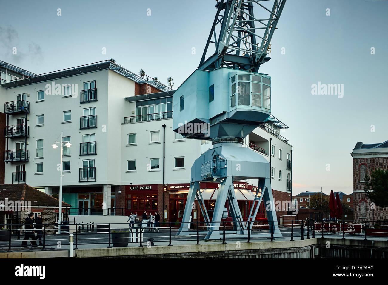 Dock crane at Gunwharf Quays, Portsmouth Stock Photo