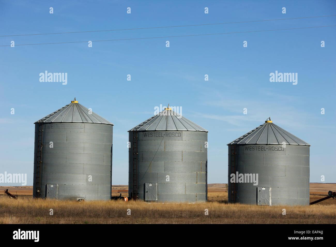 commercial grain storage bins on a farm Saskatchewan Canada Stock