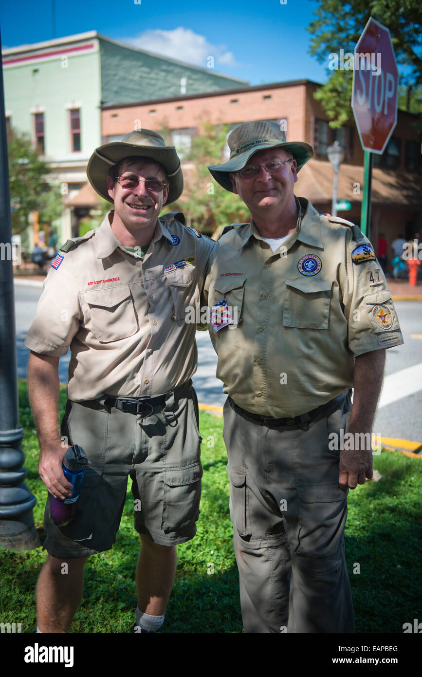 Portrait of two Scout Masters. Dahlonega, Georgia. - Stock Image
