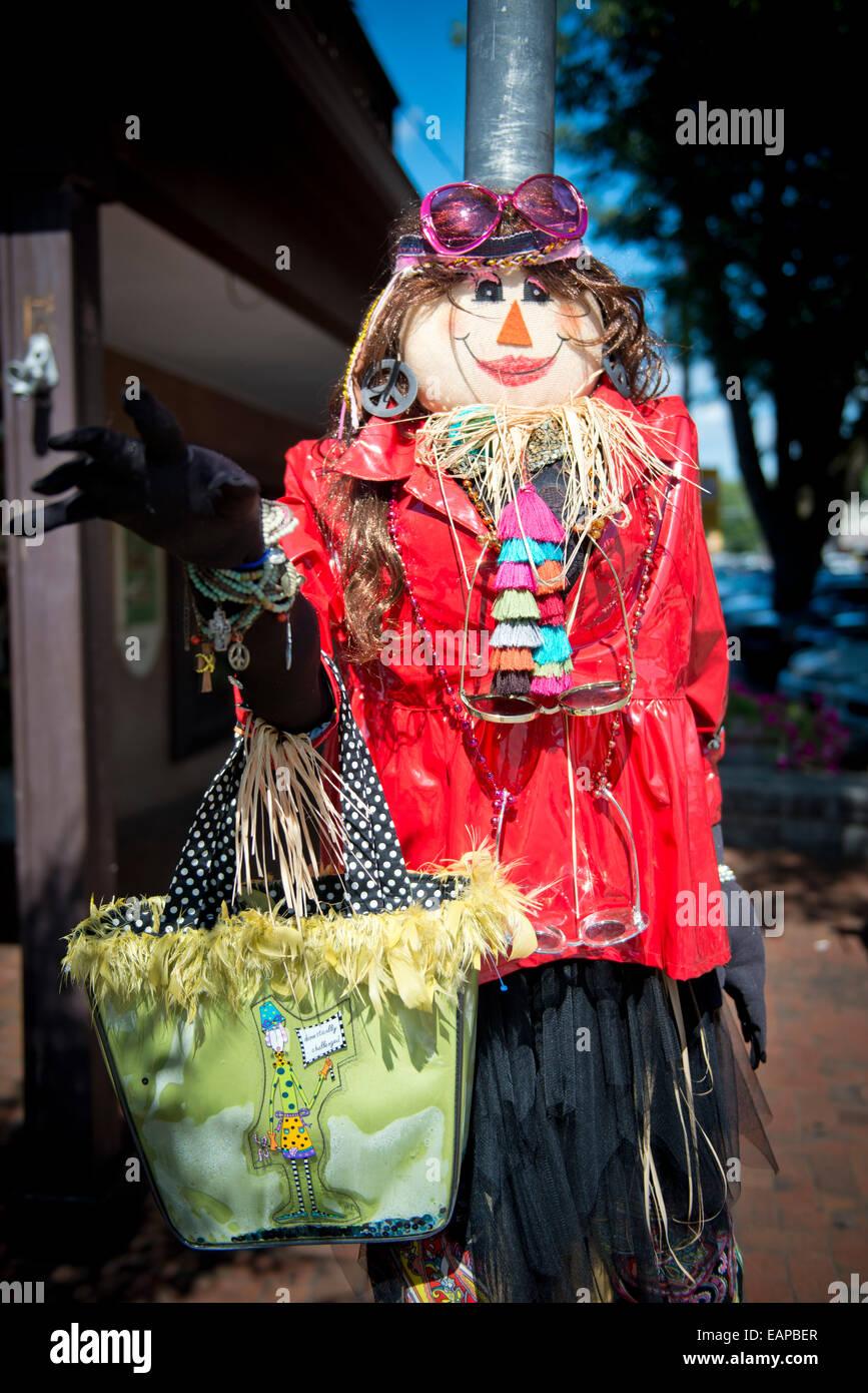 Annual Scarecrow contest. Dahlonega, Georgia. Historic gold mining town - Stock Image