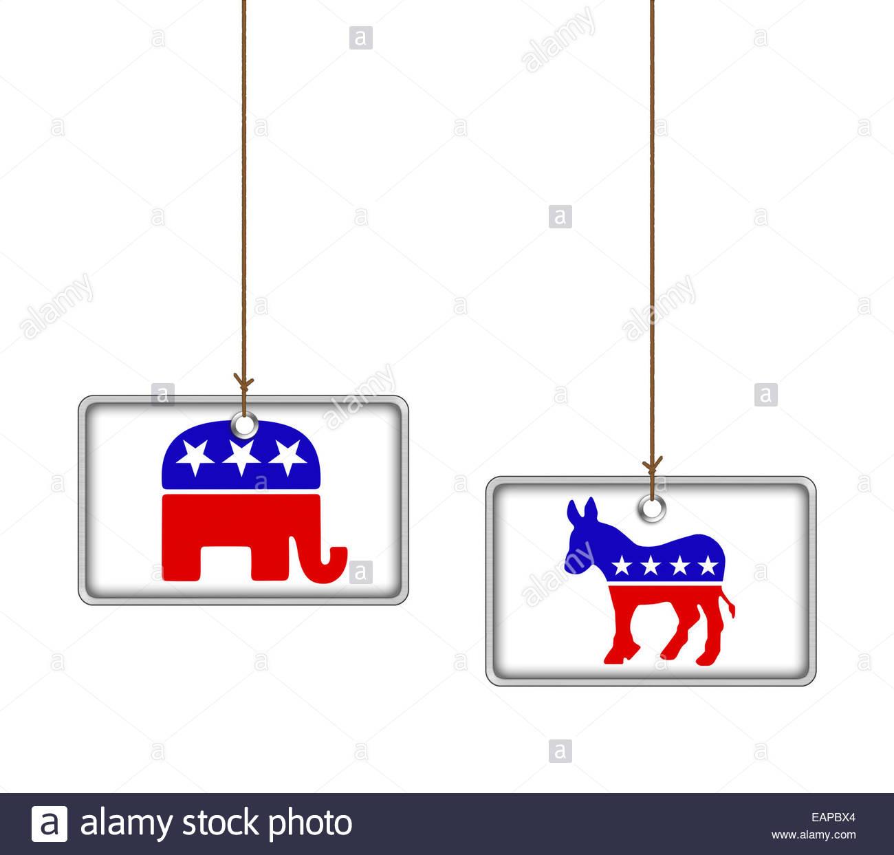 Democrats and Republican icon logo - Stock Image