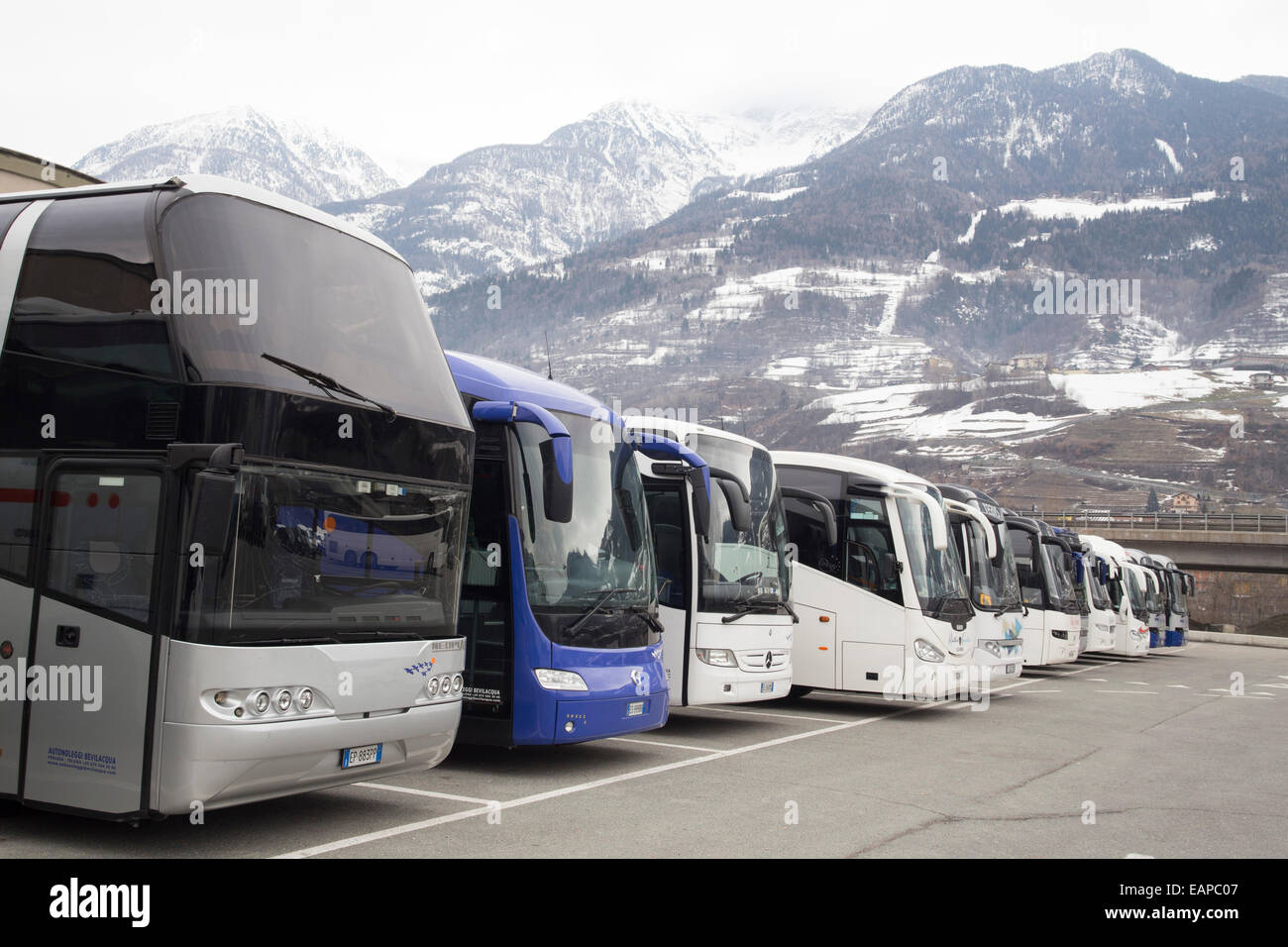 Holiday coaches at ski resort Pila Valle du0027Aoste Italy. Car park at the bottom of the chair lift. Skiing package tours & Holiday coaches at ski resort Pila Valle du0027Aoste Italy. Car park ...