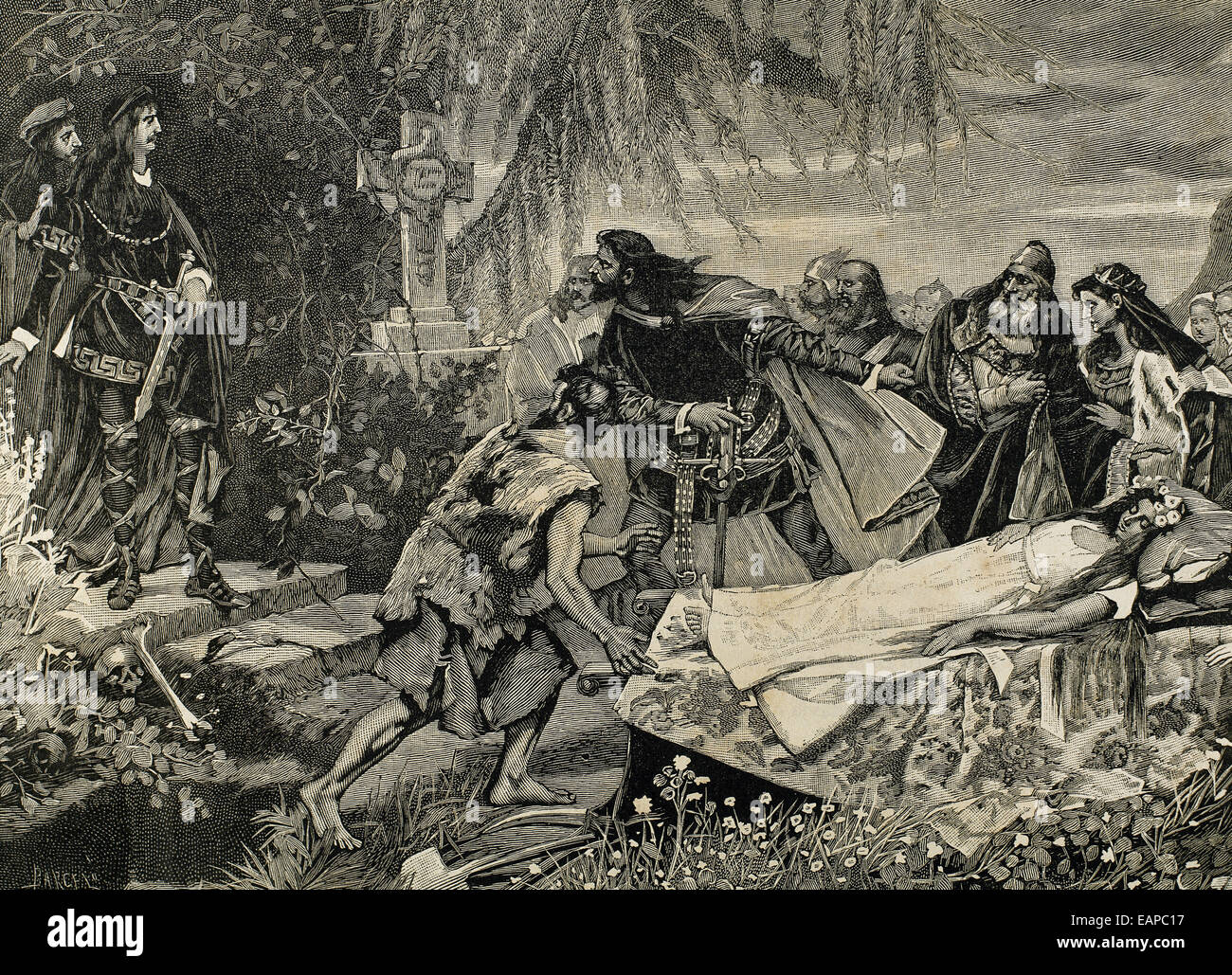 William Shakespeare (1564 – 1616).  The Tragedy of Hamlet. Ophelia's funeral. Engraving, 19th century. - Stock Image