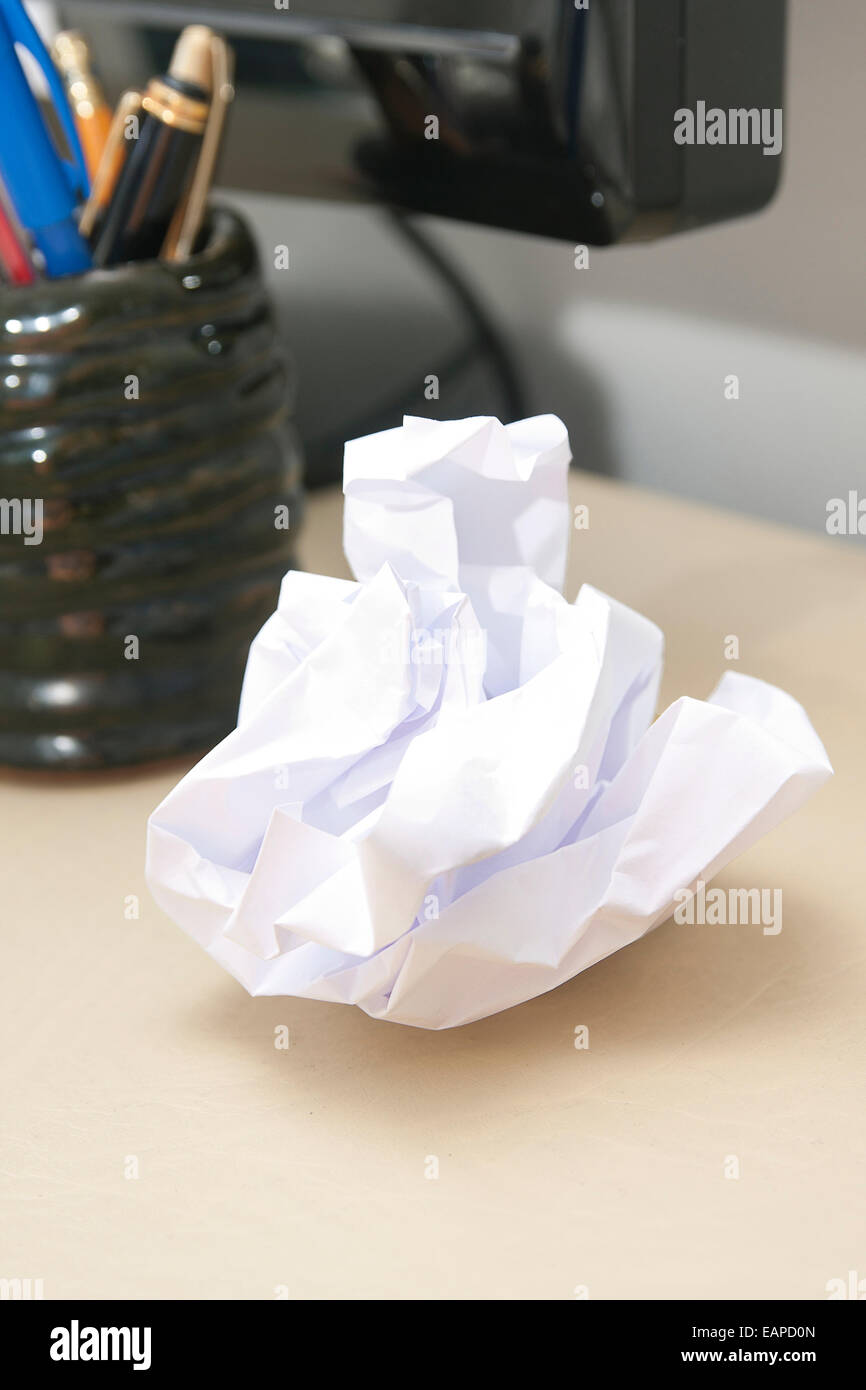 piece of screwed up paper - Stock Image