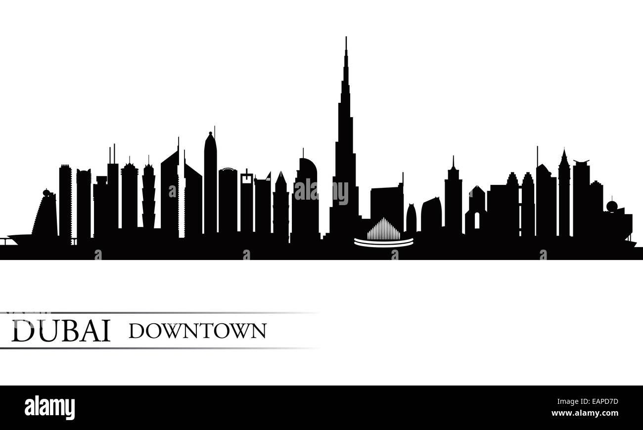 Dubai Downtown City skyline silhouette background - Stock Image
