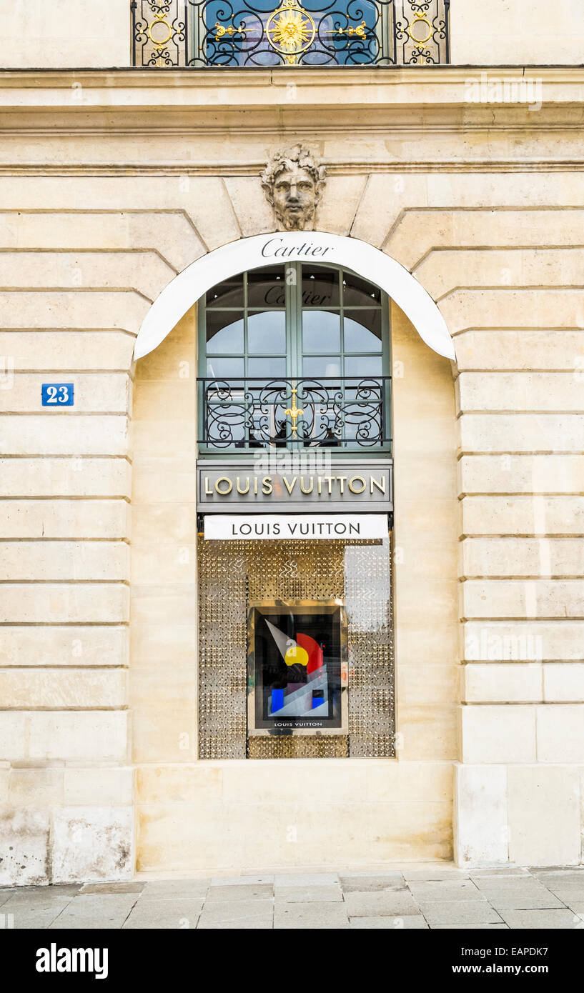 louis vuitton store at place vendome, , paris, ile de france, france - Stock Image