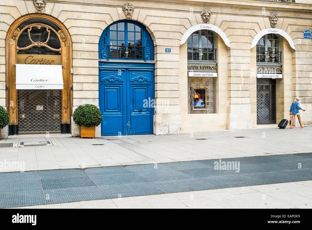 cartier and lous vuiton luxury brand stores at place vendome,  paris, ile de france, france - Stock Image