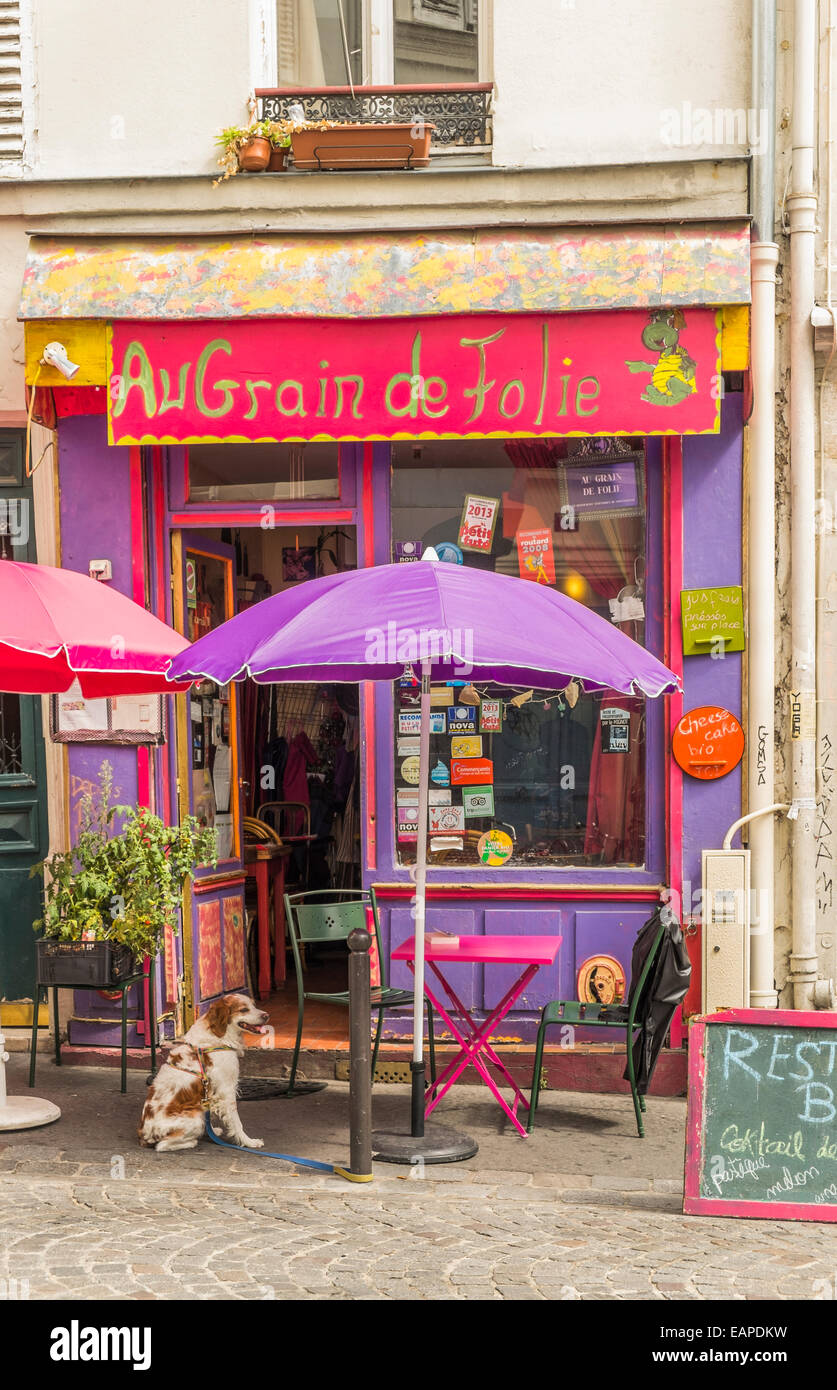 vegetarian restaurant au grain de la folie in the montmartre district, paris, ile de france, france - Stock Image