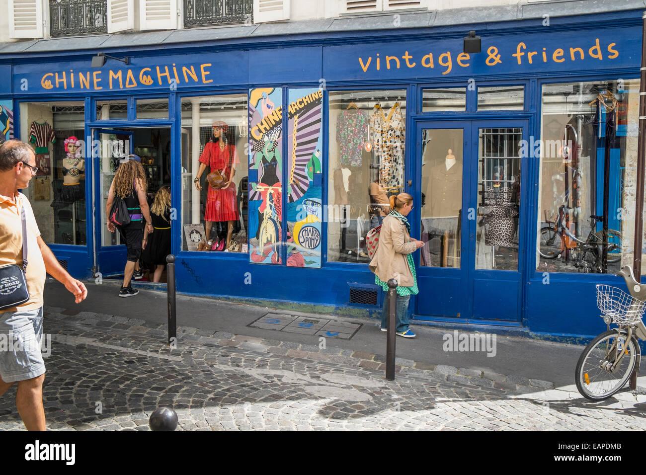 chine machine vintage fashion store in the montmartre district, rue des martyrs, paris, ile de france, france - Stock Image
