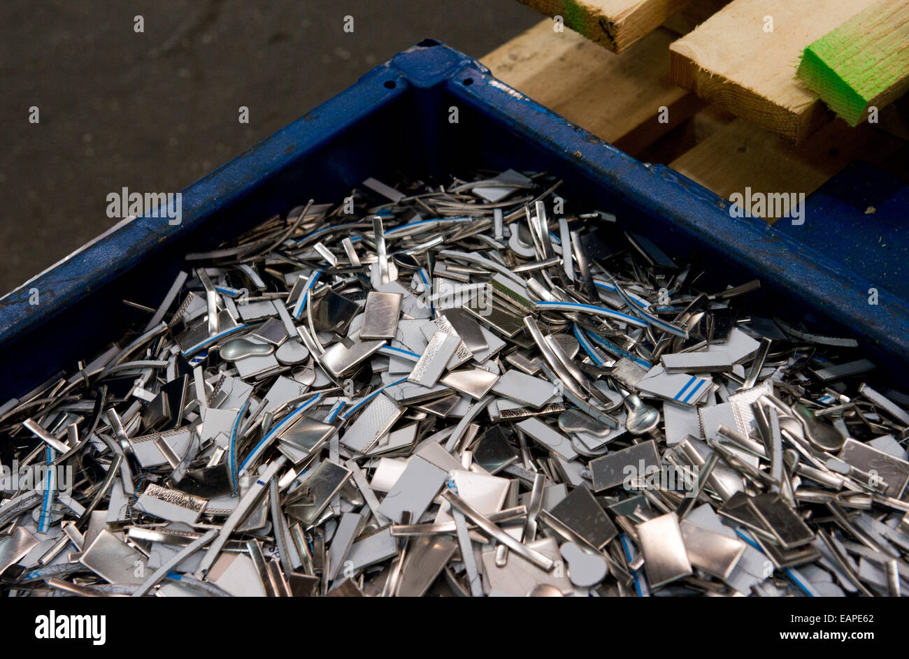 Metal wasted in the production hall at the ThyssenKrupp