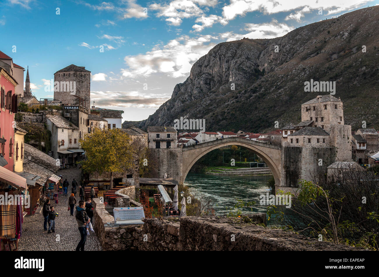 Mostar in Bosnia and Hercegovina the old town and Stari Most or Old Bridge - Stock Image