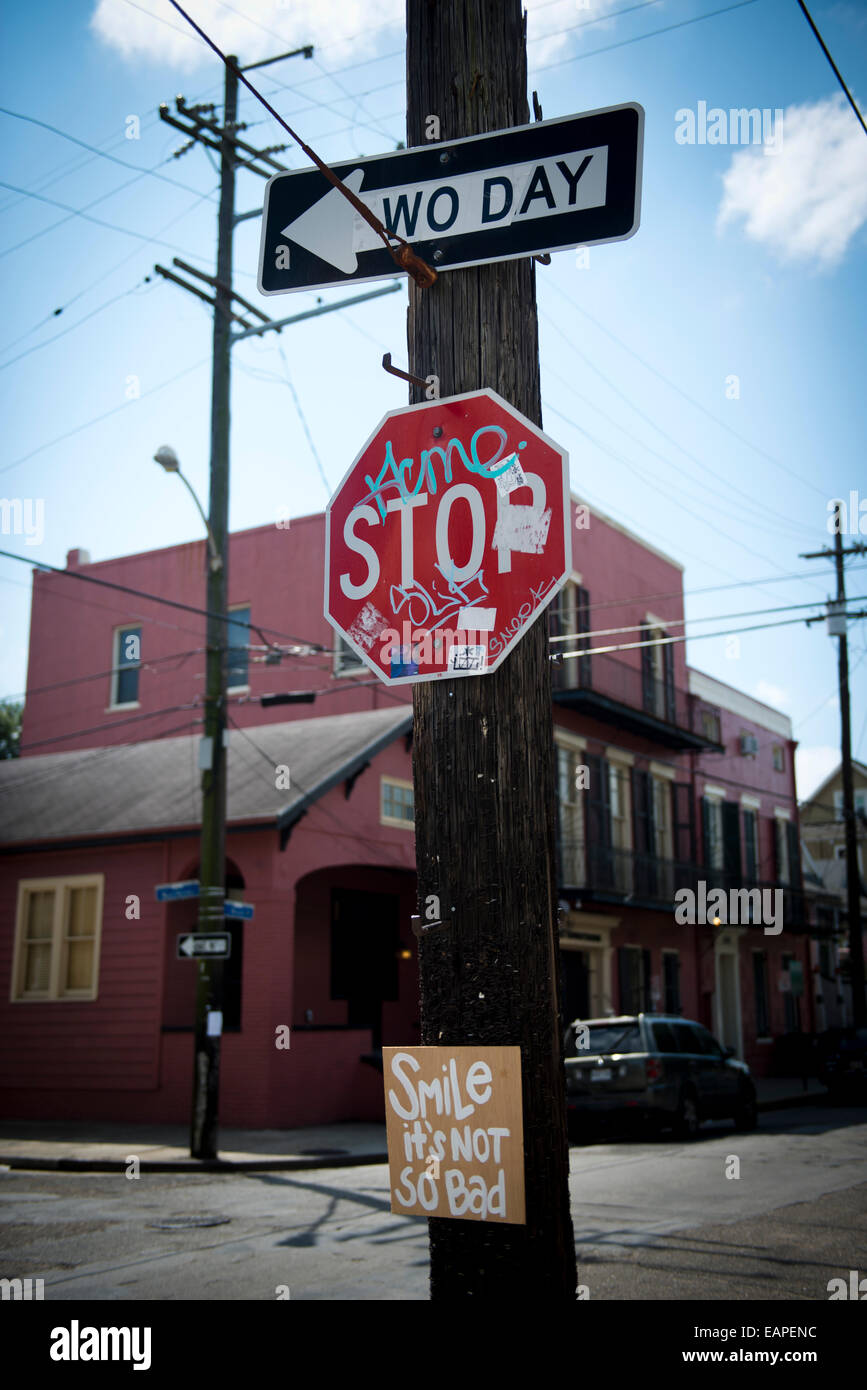 One way sign changed to to say Wo Day. New Orleans, Louisiana - Stock Image