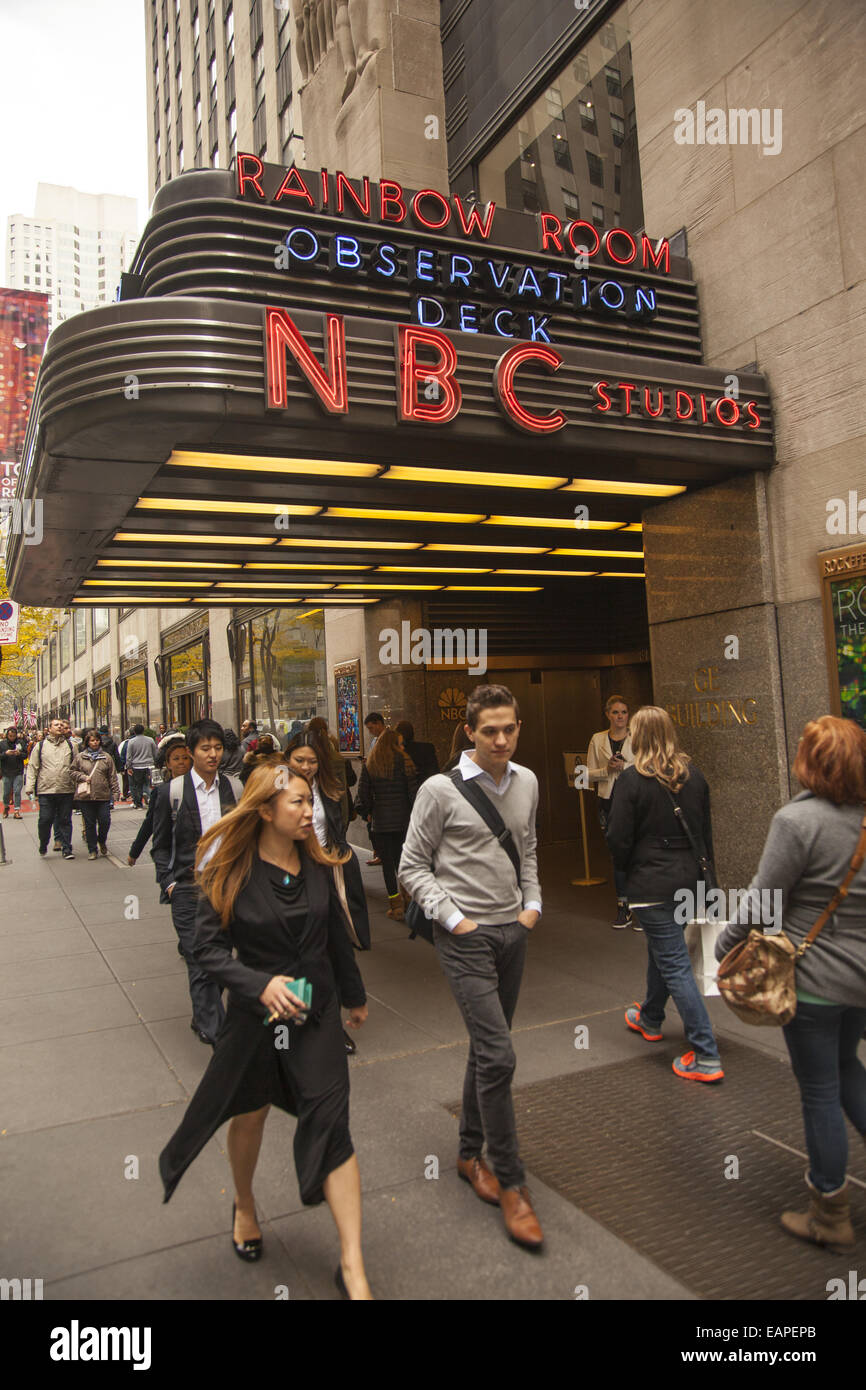 NBC Studios & Top Of The Rock Observation Deck entrance on West 49th St. at Rockefeller Center, NYC. - Stock Image