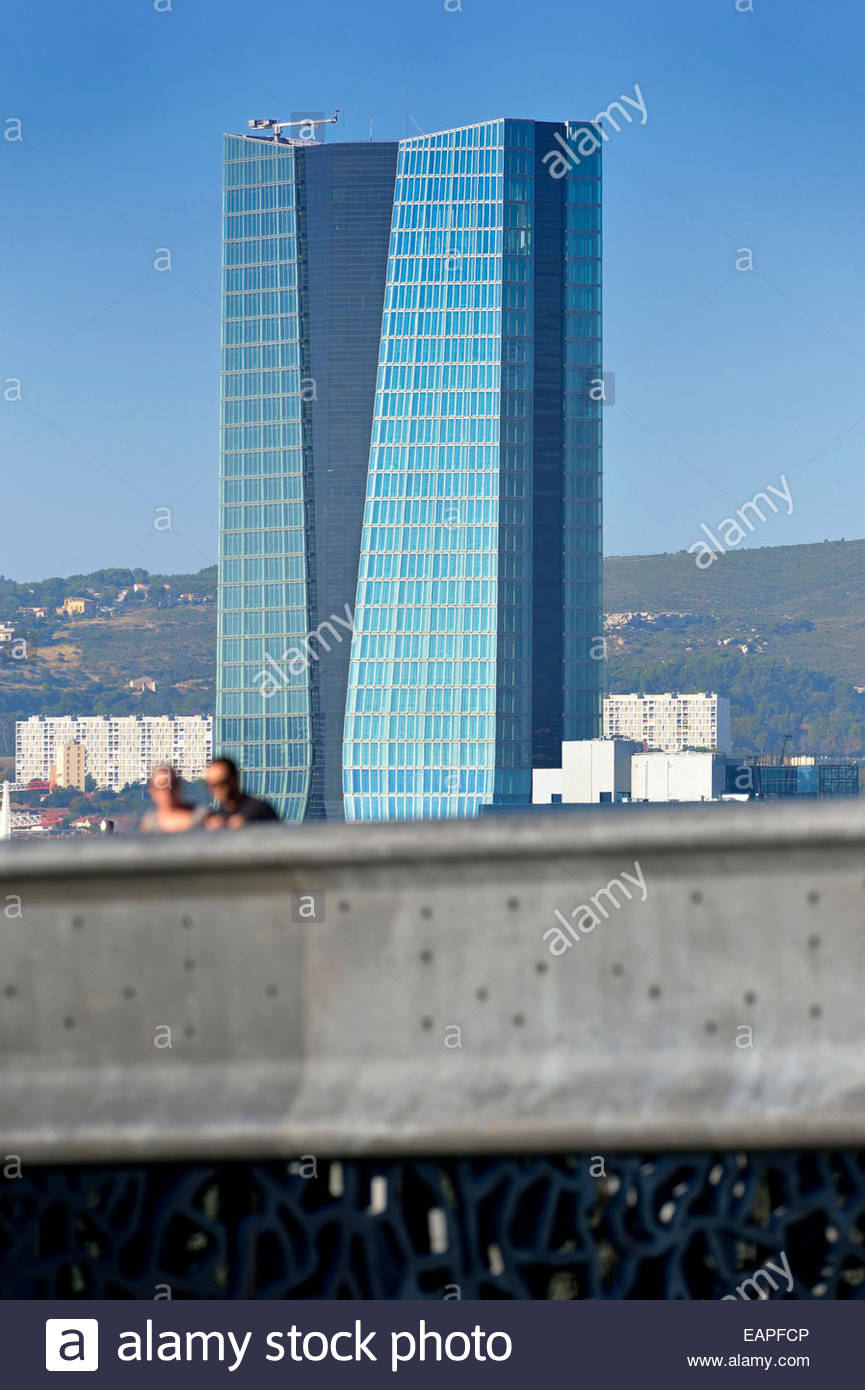 The CMA CGM building from Fort Saint Jean in Marseille. - Stock Image