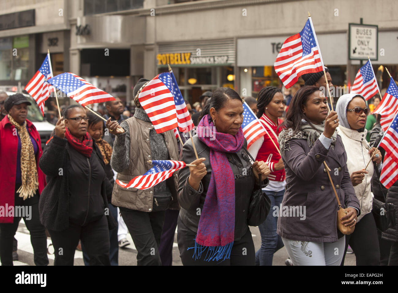 Veterans Day Parade, 5th Ave., New York City. - Stock Image