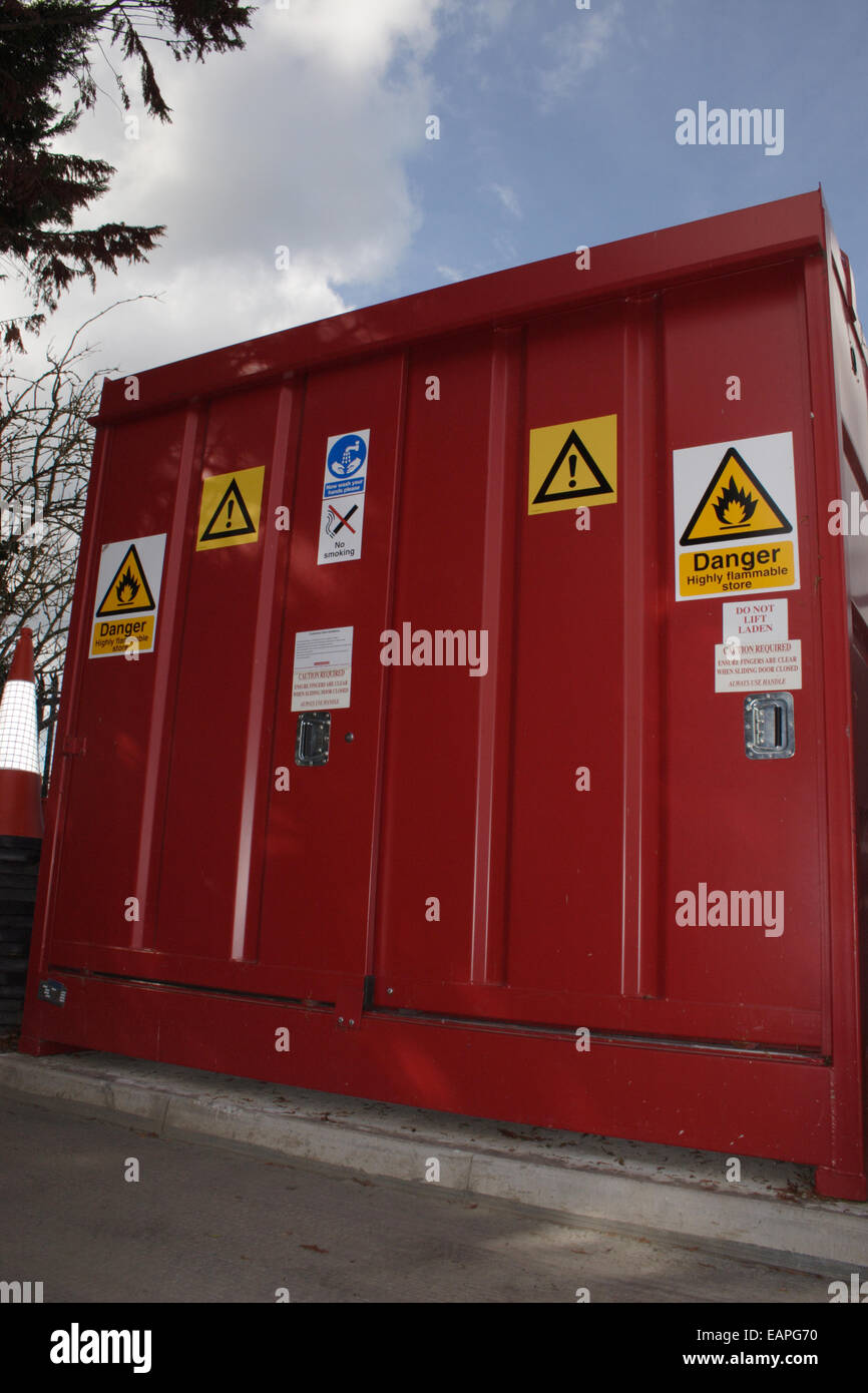 amenity tip & recycling. inflammable or toxic waste skip - Stock Image