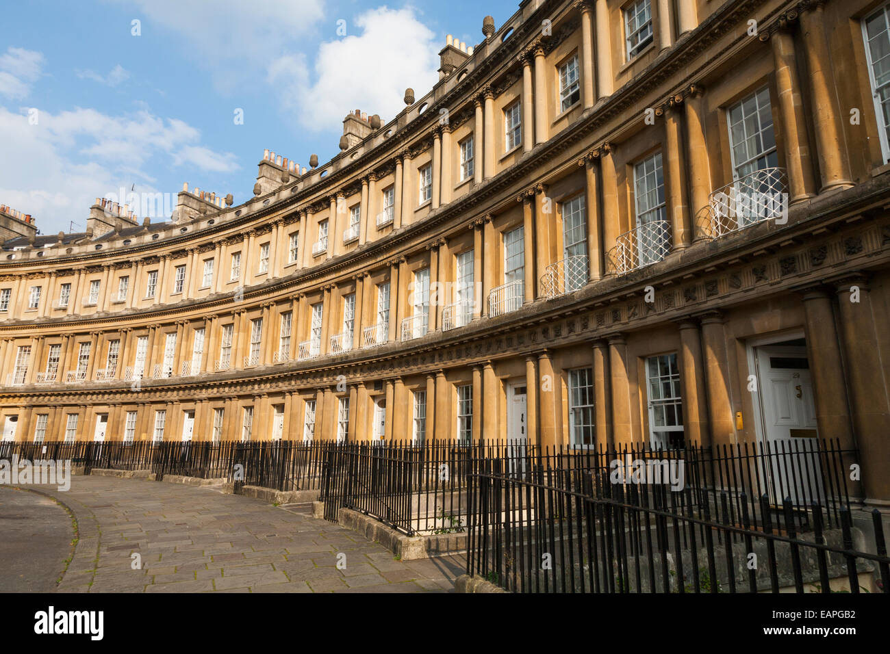 Crescent / terrace of large town houses / townhouses in The Circus, Bath, Somerset UK. It is an example of Georgian - Stock Image