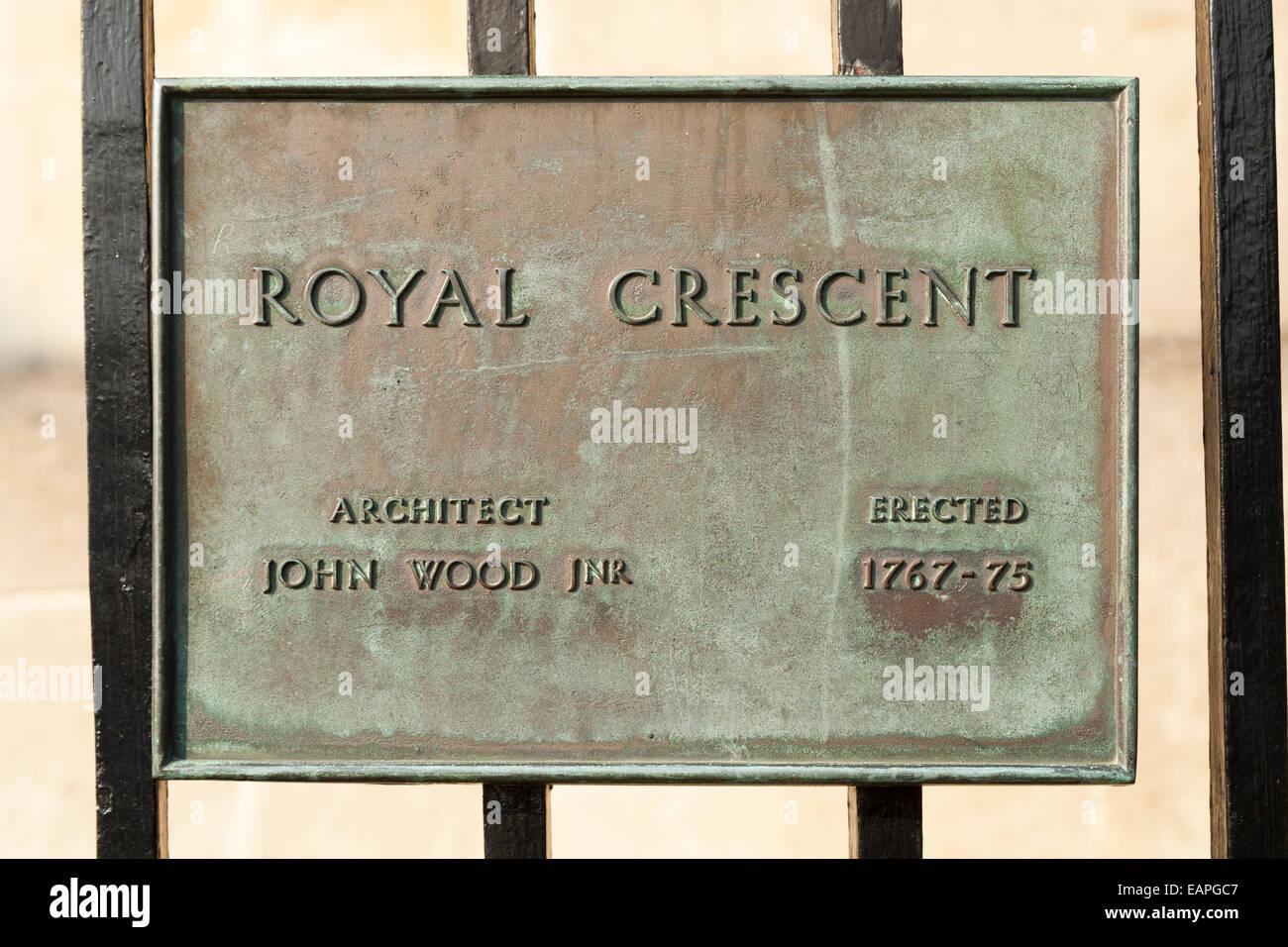 Bronze plaque on Royal Crescent, Bath. UK. The plaque credits architect John Wood Junior. The crescent was erected - Stock Image