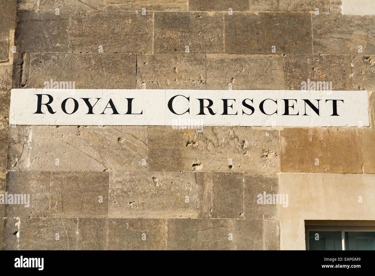 Street / road name sign painted on a house wall in The Royal Crescent Bath. England Britain UK. - Stock Image
