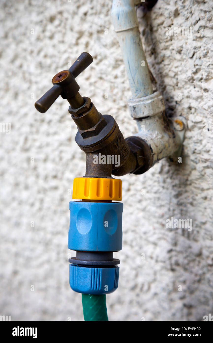 Outdoor garden tap mounted on a white painted wall with a plastic hose pipe attachment connected - Stock Image