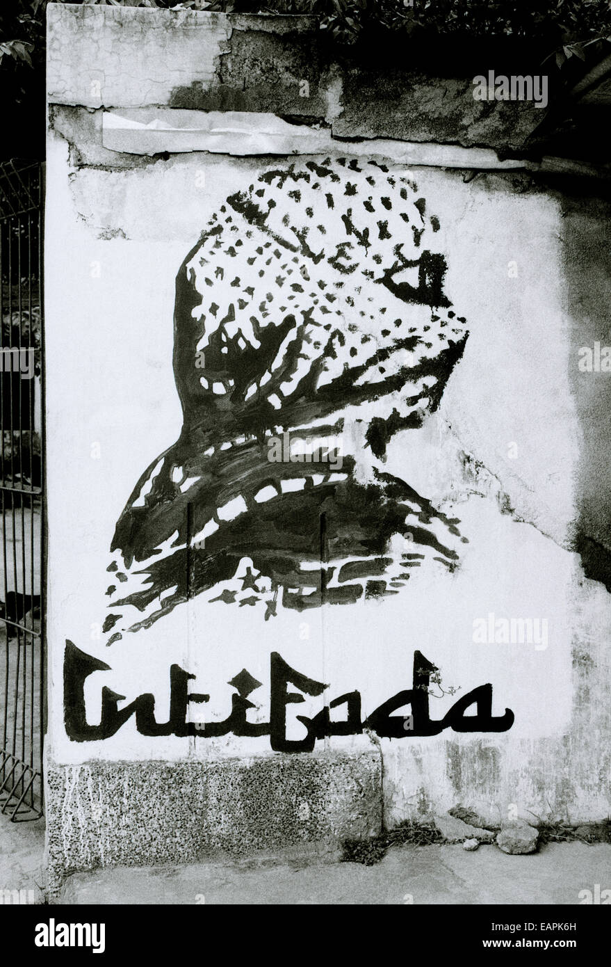 Palestinian intifada graffiti art on a street in Yogyakarta in Java in Indonesia in Southeast Asia. Terrorism Terrorist - Stock Image