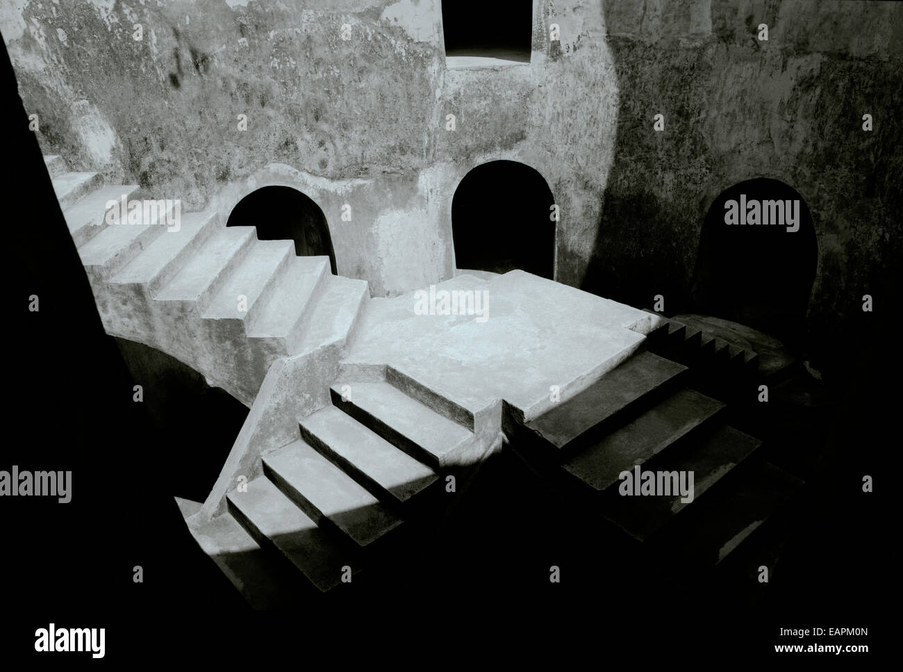 Underground Mosque Sumur Gumuling in the Taman Sari complex in Yogyakarta in Java in Indonesia in Southeast Asia Stock Photo