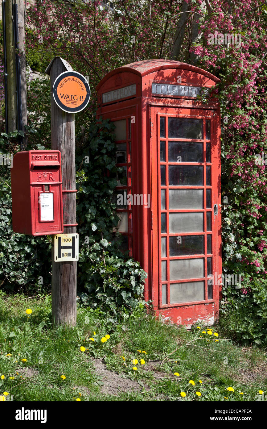 Phone box and letterbox - Stock Image