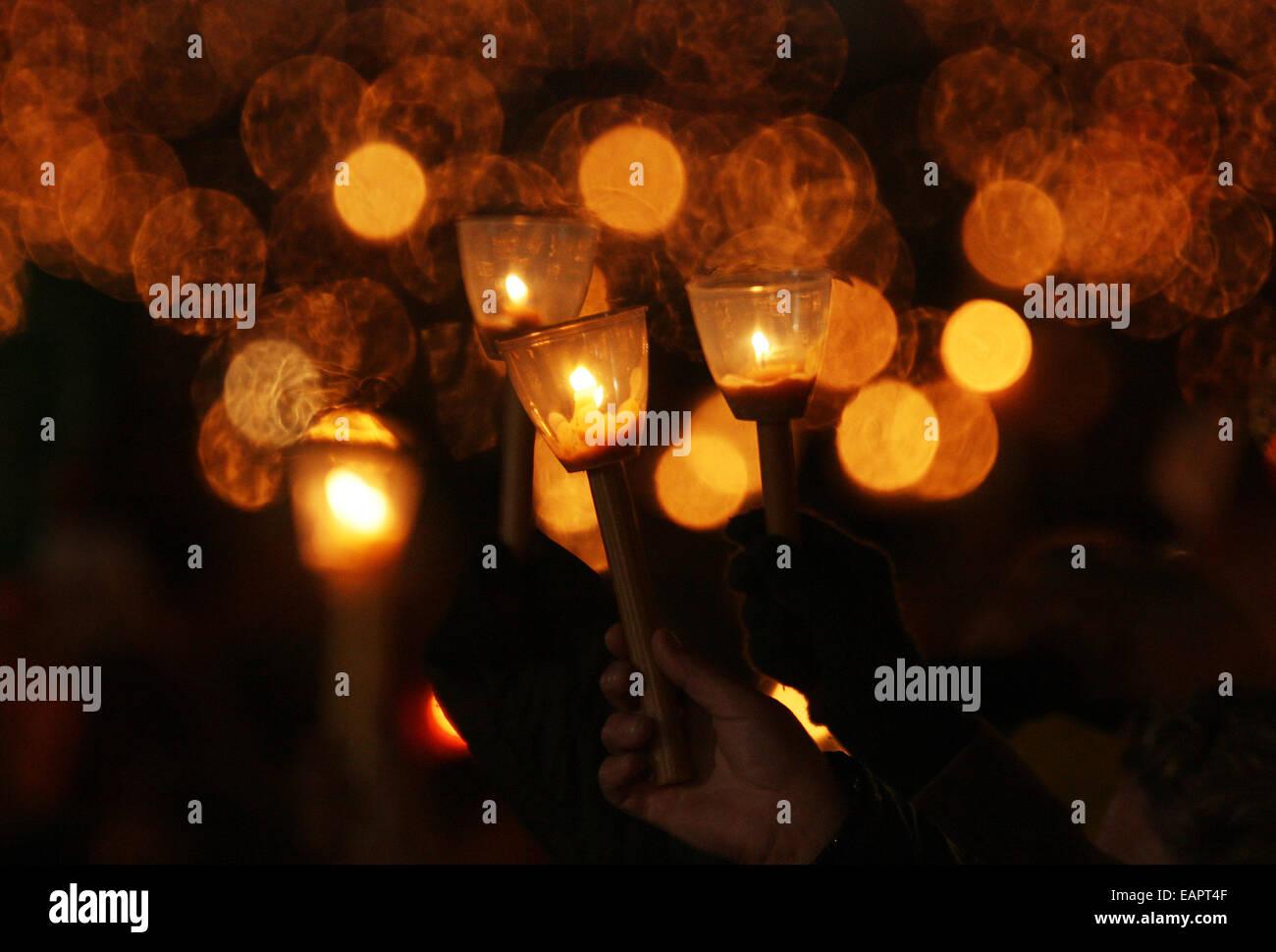 Pilgrims during vigil in Fatima´s santuary in Portugal - Stock Image