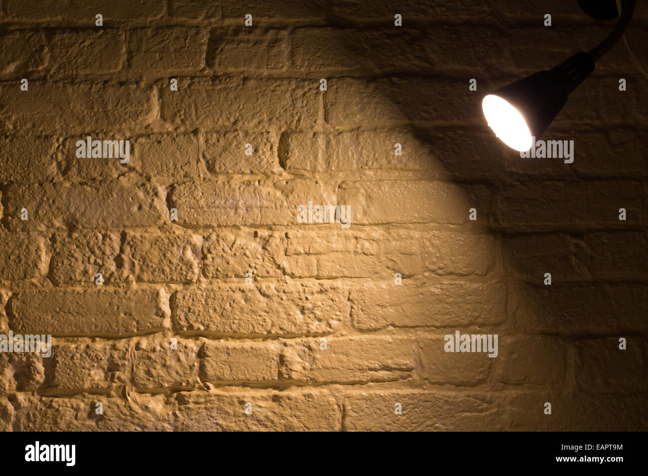 A Spot Light Shining On A Wall With Copy Space   Stock Image