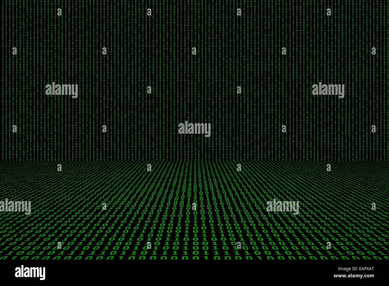 Binary computer code green background. - Stock Image