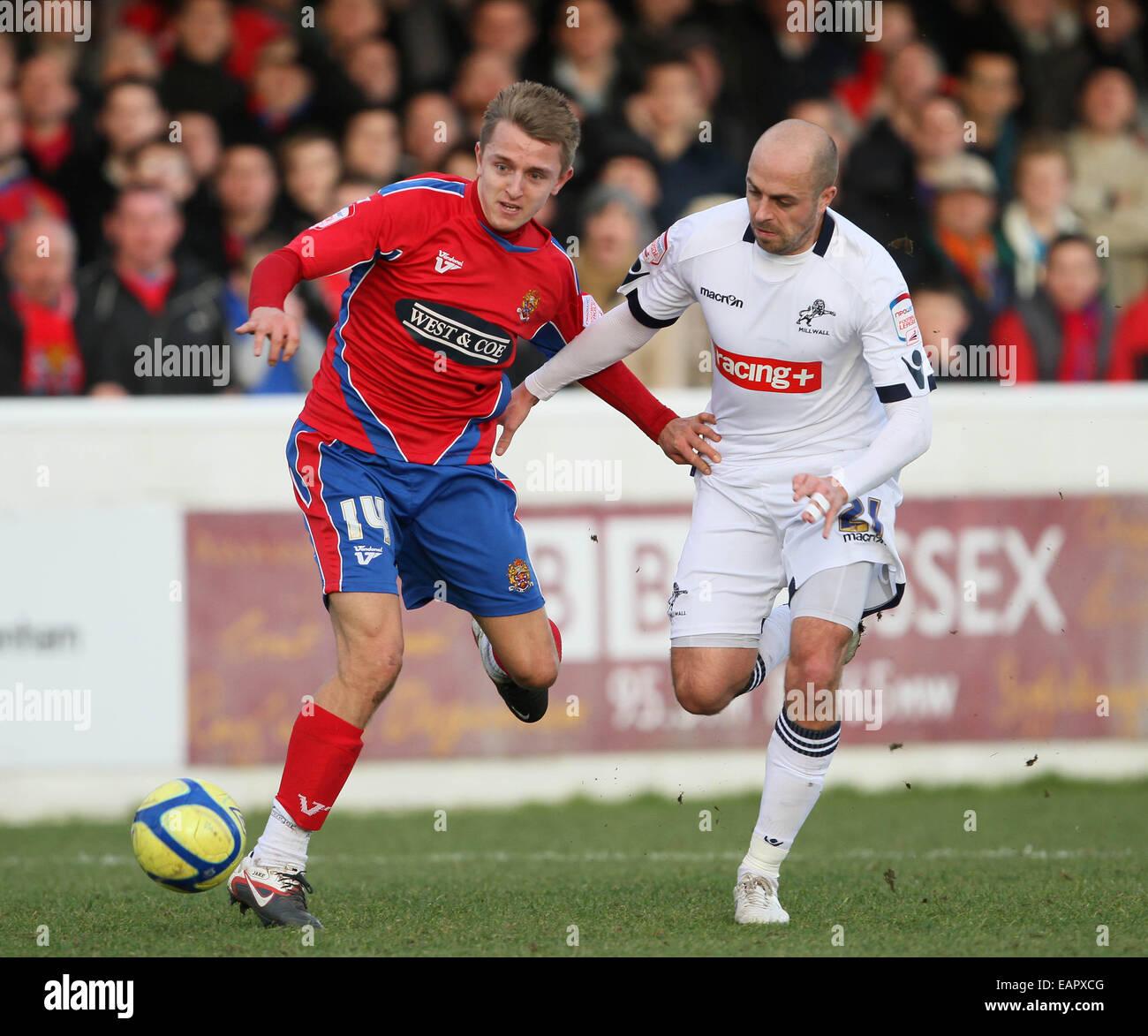 20528f81 Dagenhams Jake Reed tussles with Millwalls Jack Smith.Dagenham & Redbridge  v Millwall in the