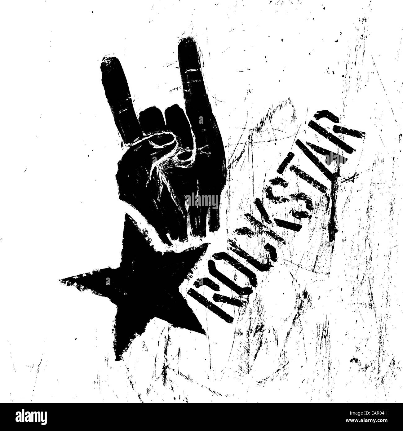 Rockstar symbol with sign of the horns gesture vector template with scratched texture