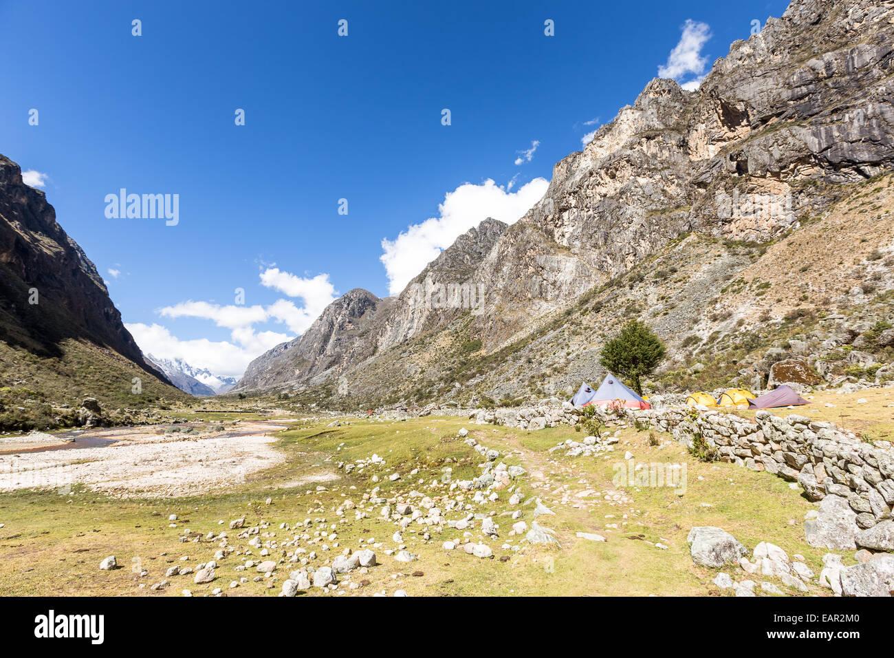 Llamacorral camping place, Santa Cruz valley, Andes, Peru, South America - Stock Image