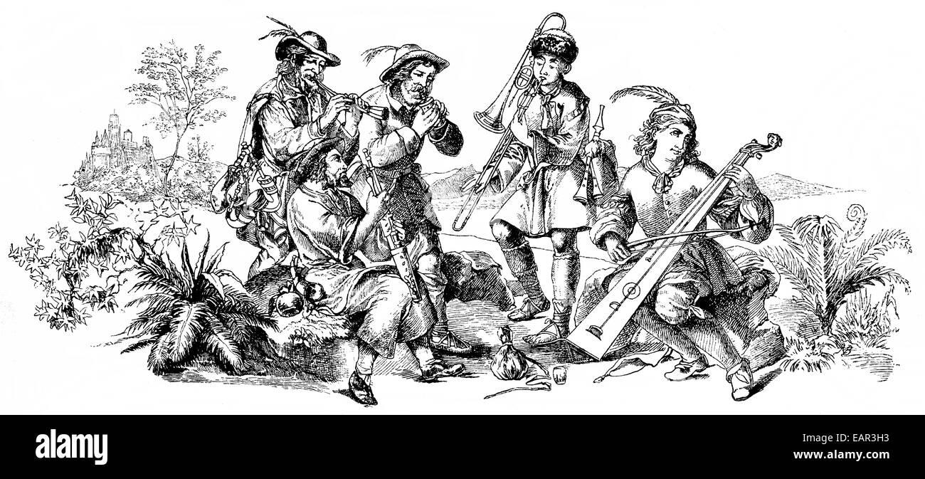 musicians with antique musical instruments, Musikanten mit alten Musikinstrumenten - Stock Image
