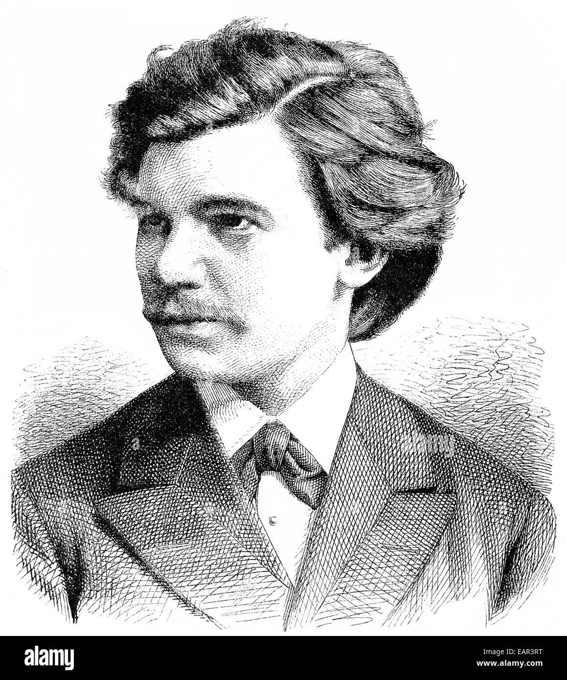 Historische Zeichnung, Portrait von Eugène Francis Charles d'Albert oder Eugen d'Albert, 1864 - 1932, ein deutscher - Stock Image