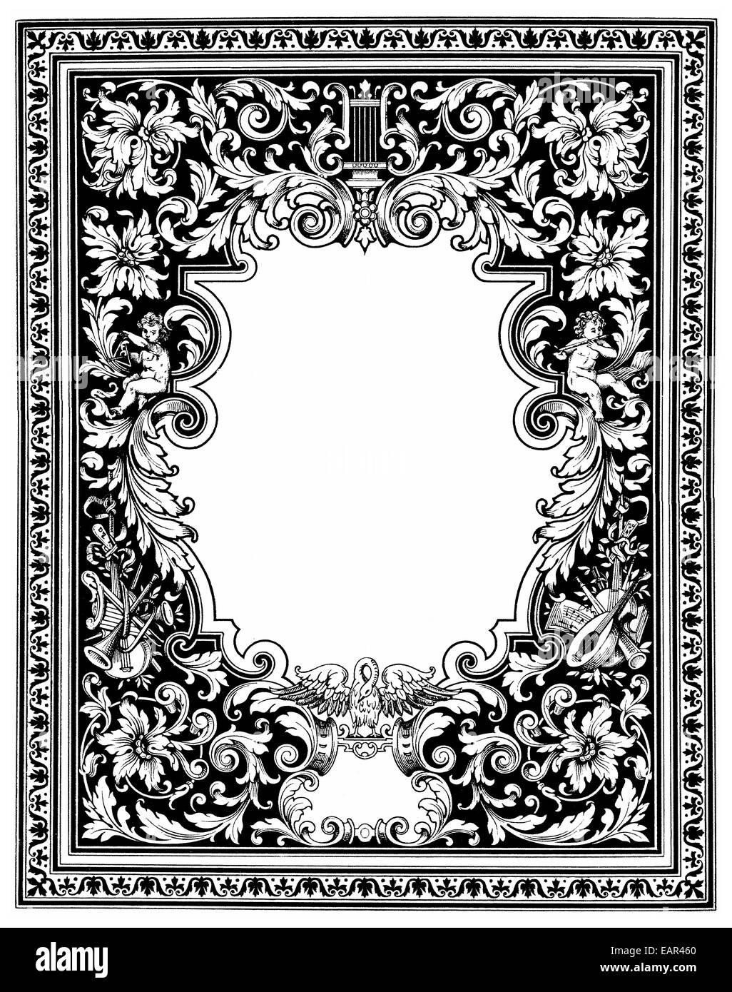 Graphical decorative border with allegorical musical themes, Schmuckrahmen mit allegorischen Musikmotiven - Stock Image