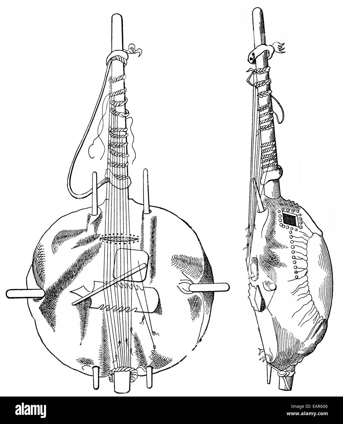 old African stringed instrument ,  ein altes, afrikanisches Saiteninstrument - Stock Image
