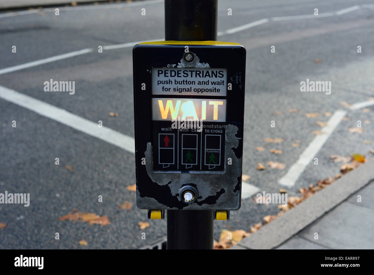 Worn Pelican crossing illuminated control panel, central