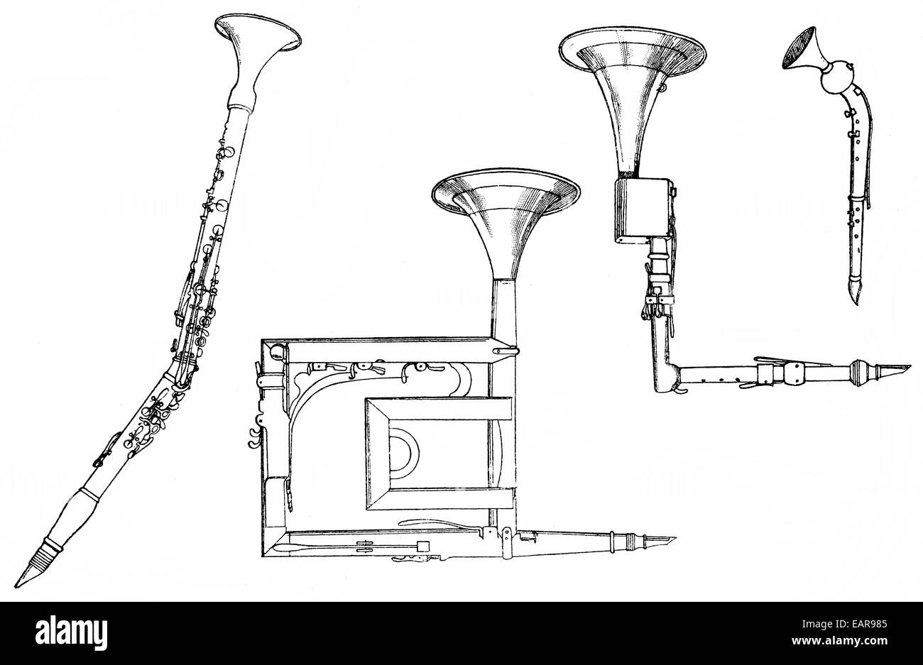 woodwind instruments, basset horn or corno bassetto, basset clarinet, Holzblasinstrumente, Bassetthorn oder corno - Stock Image