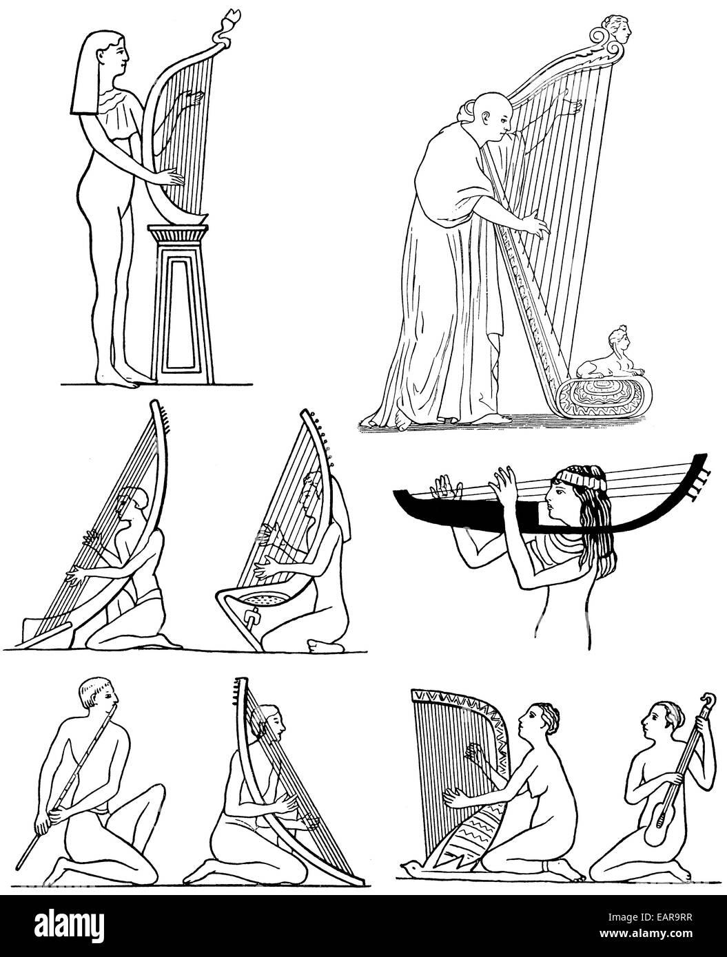 Musicians of antiquity, ancient Greek harps and flutes, Musiker in der Antike, Altgriechische Harfen und Flöten - Stock Image