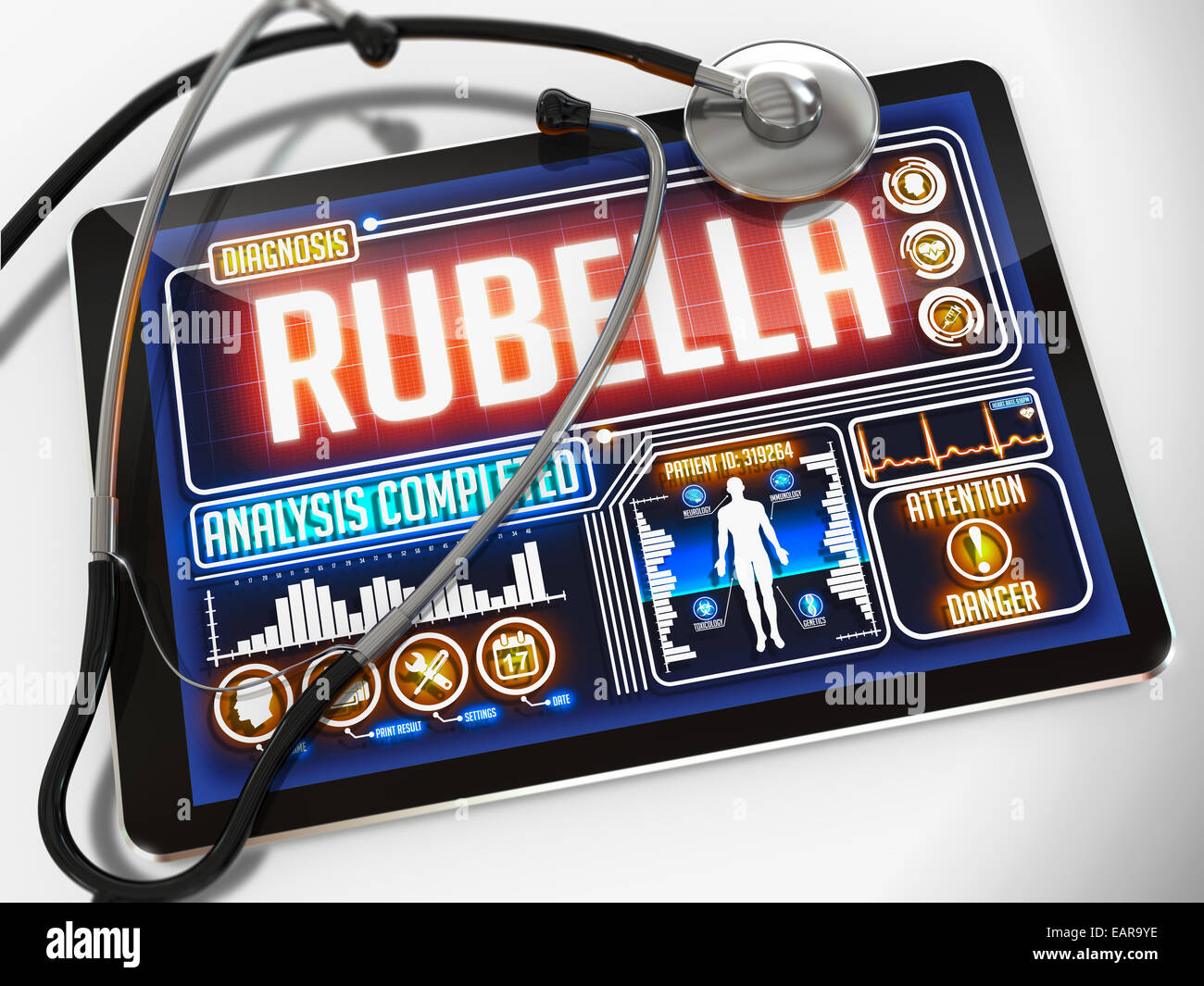 Rubella on the Display of Medical Tablet. - Stock Image
