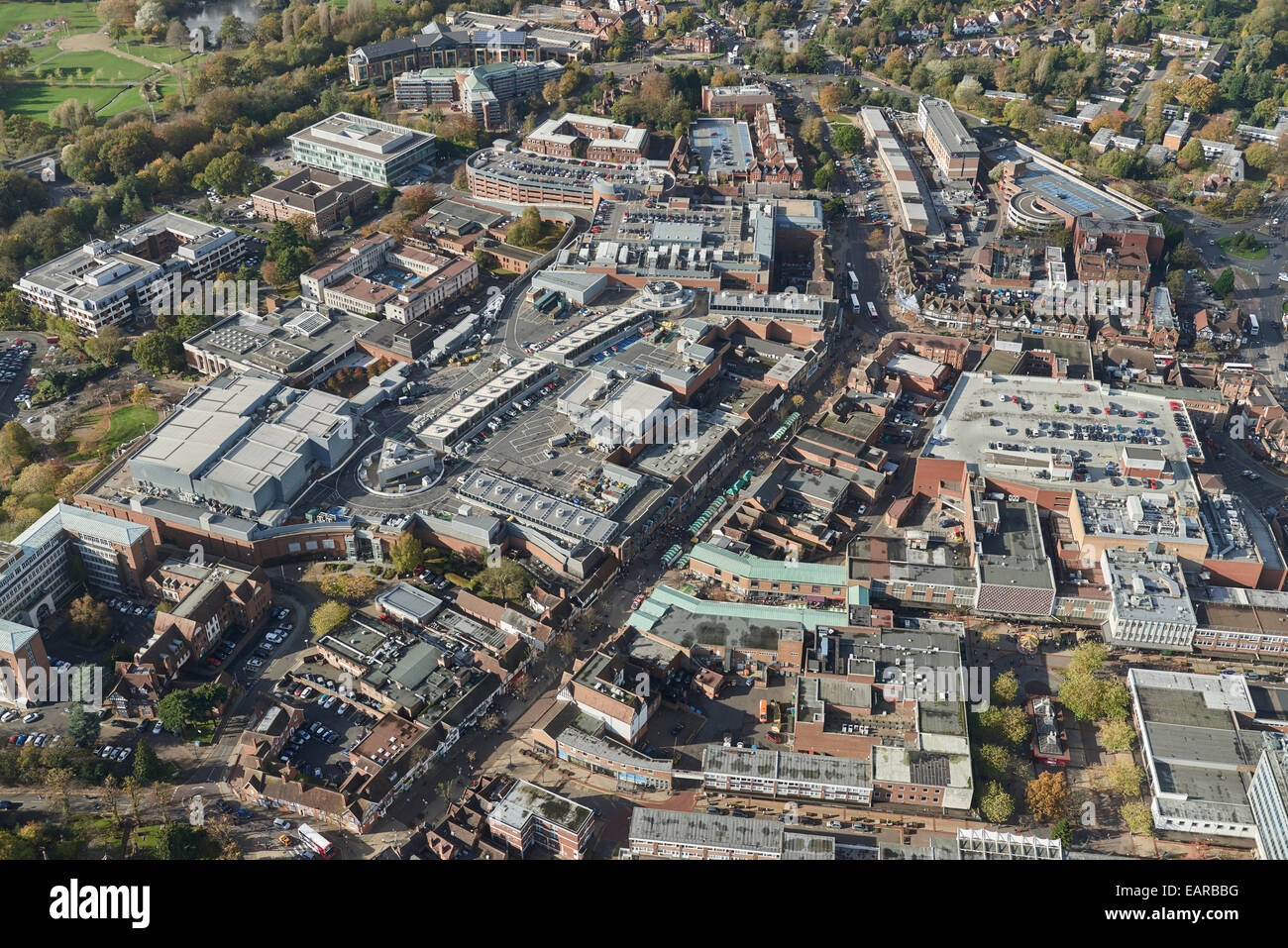 An aerial view of the centre of Solihull, a town in the West Midlands - Stock Image