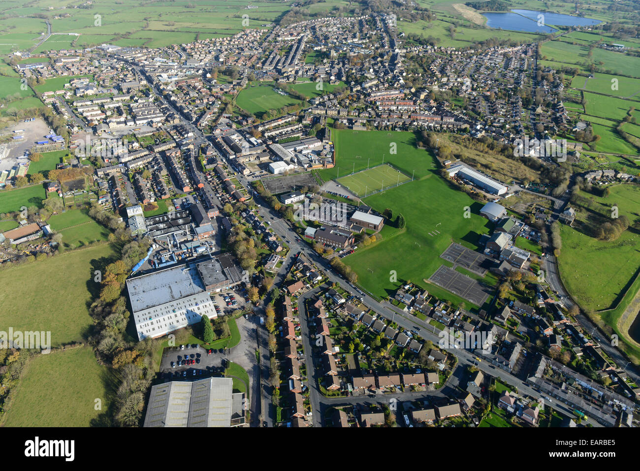 An aerial view of the Lancashire town of Longridge - Stock Image