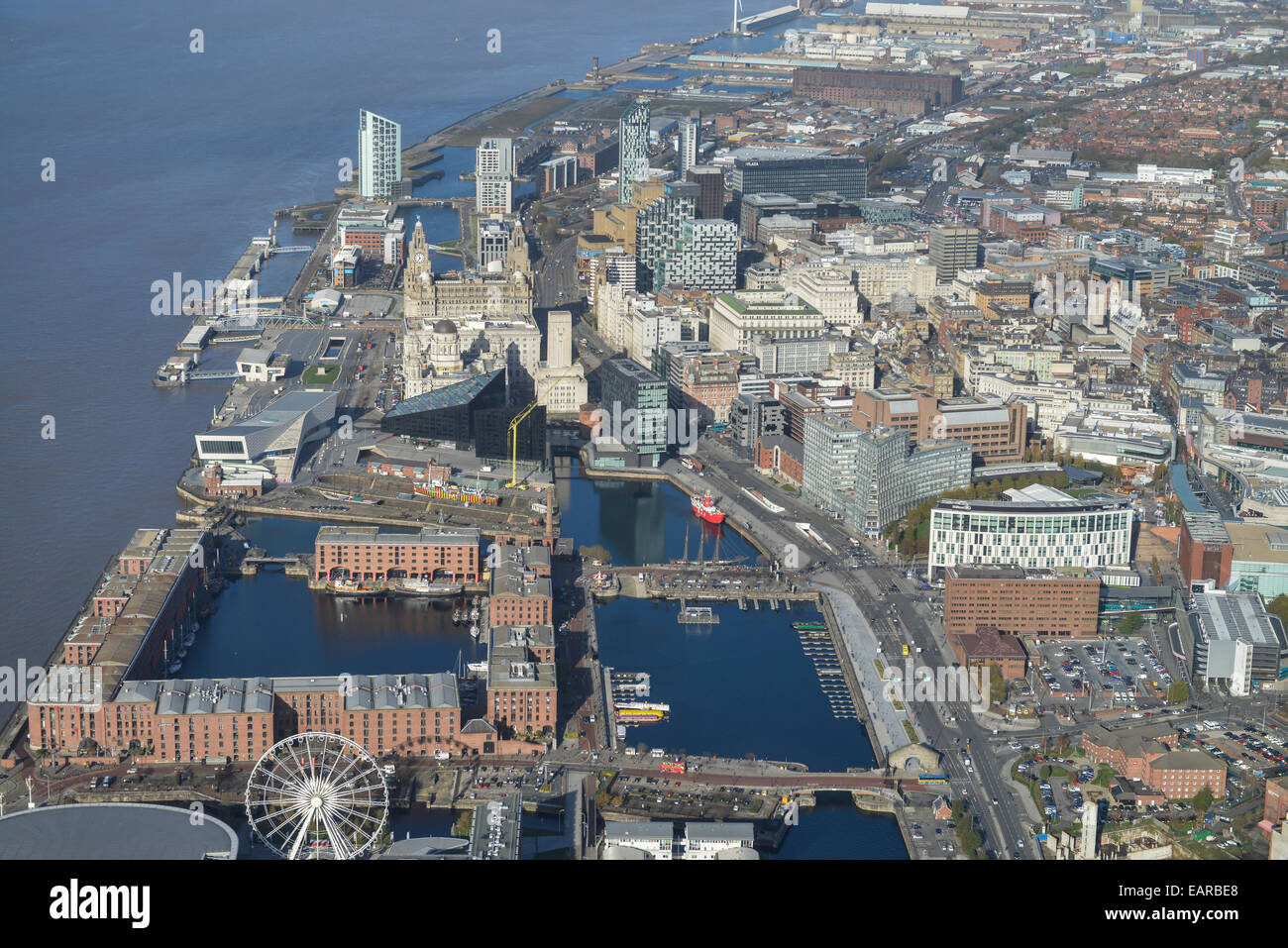 An aerial view of Liverpool City Centre and the River Mersey Stock