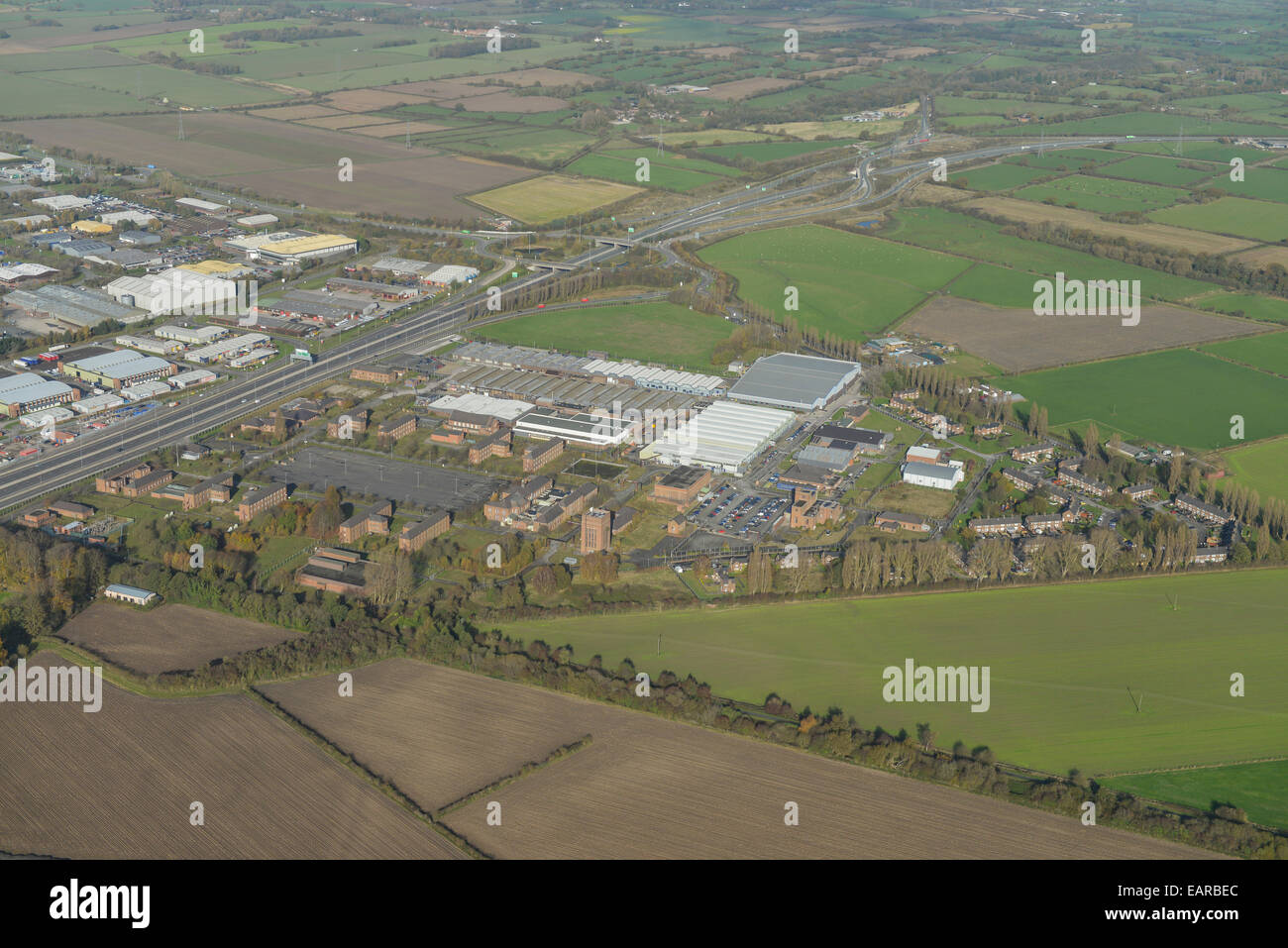 An aerial view of MOD Sealand, former RAF Sealand in Flintshire - Stock Image